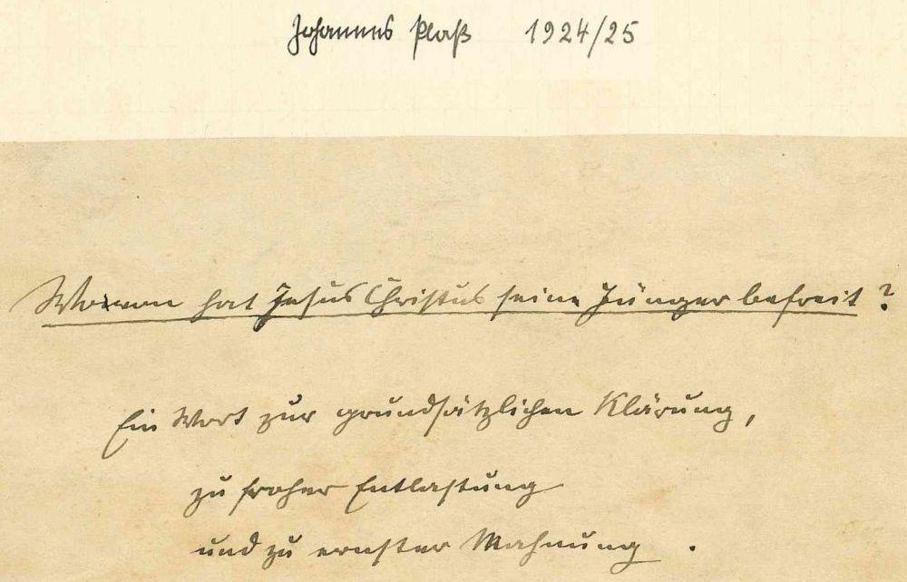 Manuskript von Johannes Plaß - Titelseite