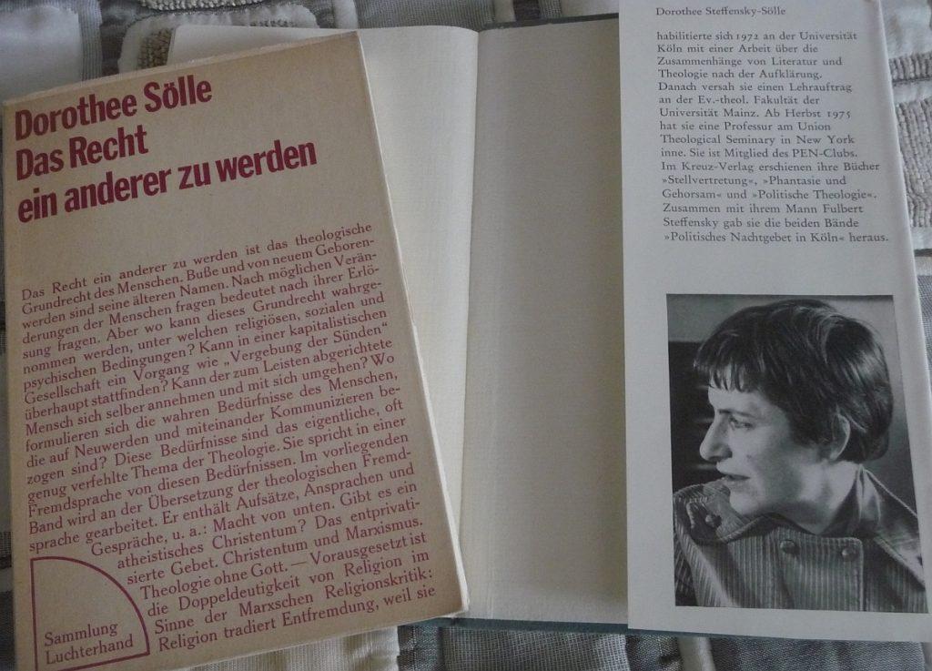 """Buchcover von Dorothee Sölle, Das Recht ein anderer zu werden, und Klappentext ihres Buches """"Leiden"""""""