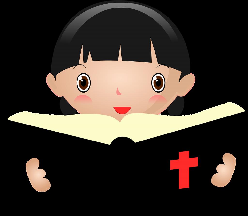 Mädchen mit aufgeschlagener Bibel (gezeichnet)