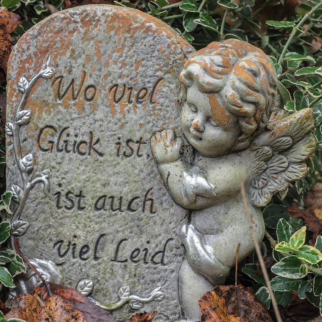 Grabstein mit Engel und Inschrift: Wo viel Glück ist, ist auch viel Leid