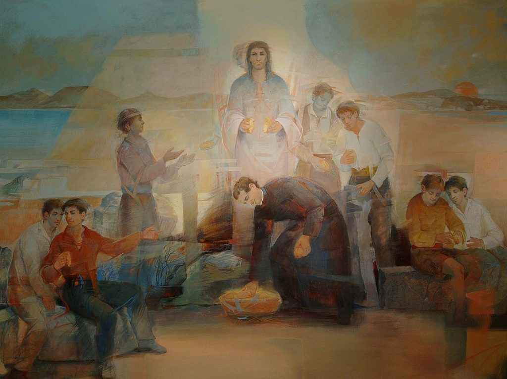 Wo kaufen wir Brot, fragt Jesus. Das Gemälde zeigt Don Bosco, wie er Brot teilt, im Hintergrund ist Jesus der, der das Brot bricht.