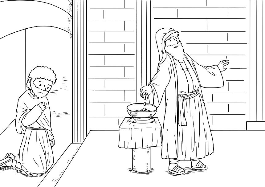 Zeichnung vom knienden Zöllner und vom Pharisäer mit betend ausgebreiteten Armen