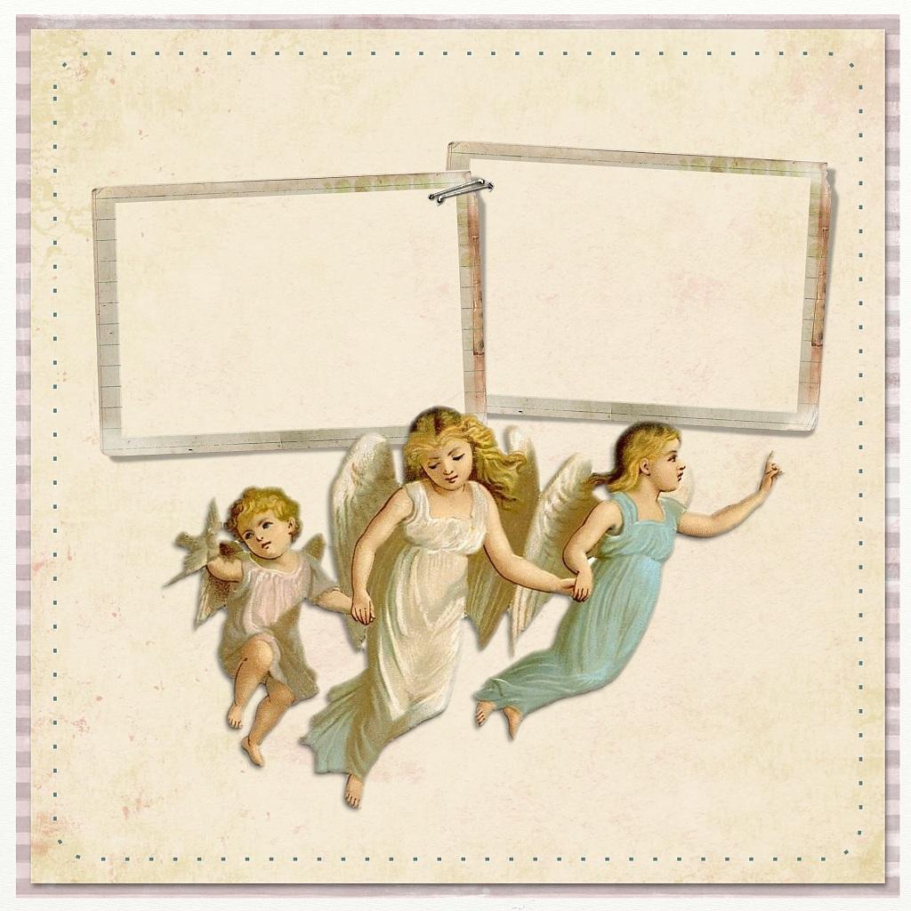Vintage: drei Engelchen auf einem Briefbogen mit zwei Rahmen, in die man etwas hineinschreiben kann