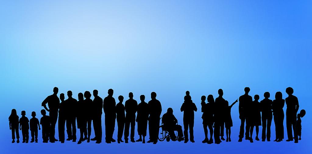 Ist Gemeinde die große Familie Gottes? Das Bild zeigt die Silhouetten unterschiedlicher Menschen, klein, groß, alt, jung, einschließlich einer Person im Rollstuhl
