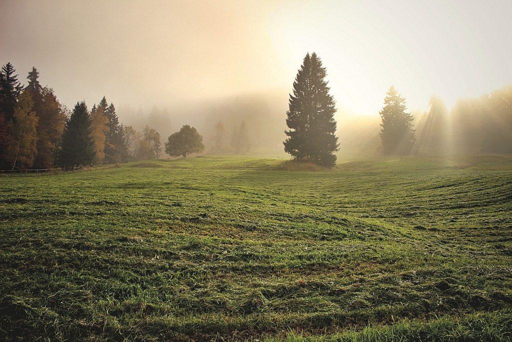 Wie leuchtet Gottes Gesicht über uns? Hier das Bild einer Landschaft, über der ein geheimnisvolles Licht durch Wolken und Dunst strahlt