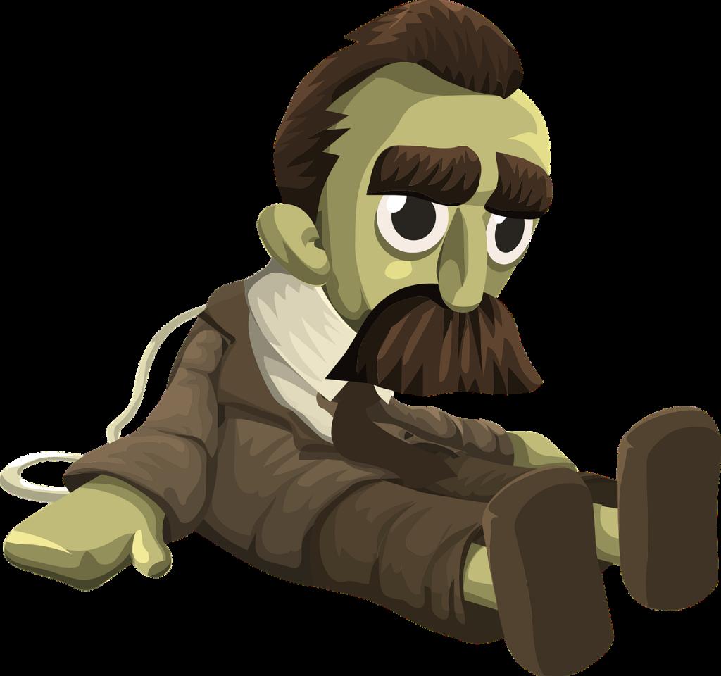 Friedrich Nietzsche als Puppe, die auf dem Boden sitzt