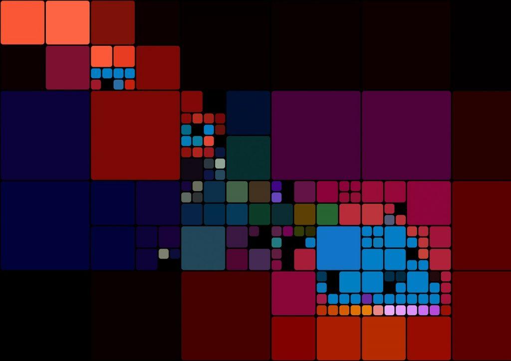 Ein Muster mit Ordnungen aus unterschiedlich großen und verschiedenfarbigen Quadraten
