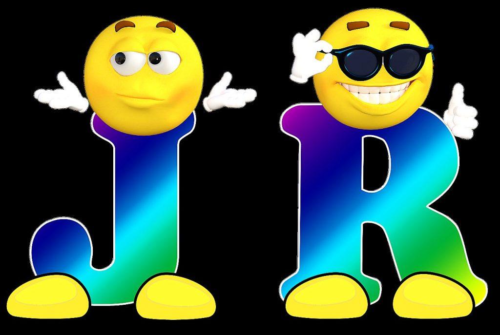 Die Initialen J. R. als Smilie dargestellt - Symbol für die Serie Dallas