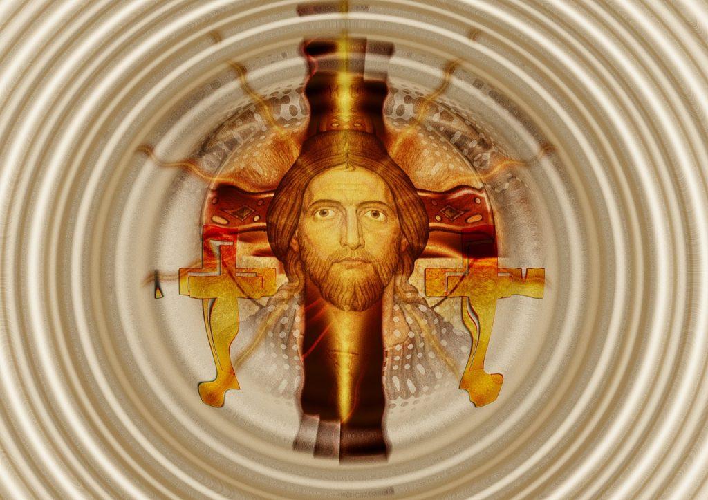 Jesu Gesicht, von Kreisen umgeben