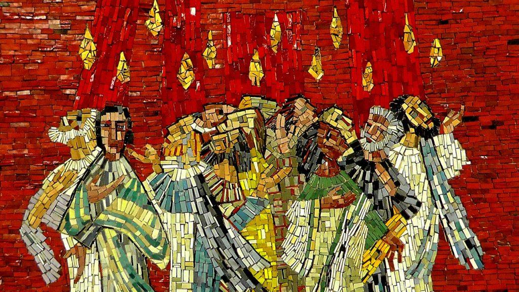 Mosaik: Ausgießung des Heiligen Geistes (mit rotem Hintergrund)