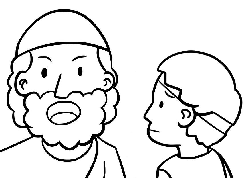 Mose und sein Urenkel - eine Zeichnung
