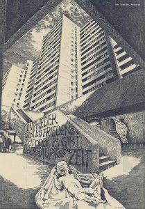 """Ein schreiendes Baby liegt nackt auf Tüchern vor einer Betontreppe, die zu Hochhäusern führt. Auf der Treppe steht das Graffito: """"Entweder gibt es Friedenszeit oder es gibt überhaupt keine Zeit"""""""