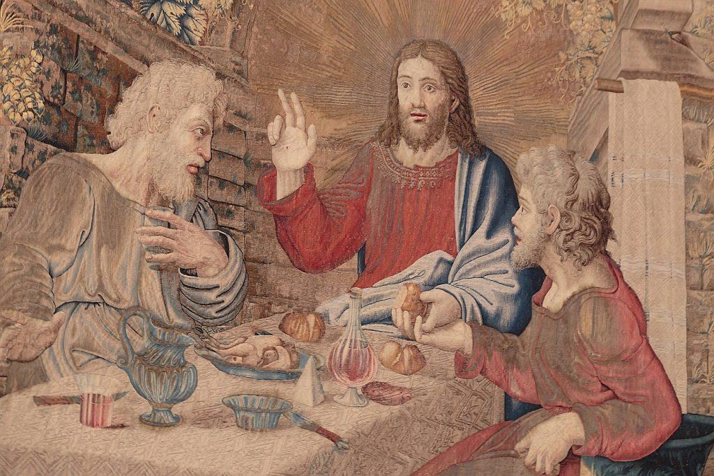 Jesus gibt sich den Emmaus-Jüngern beim Abendmahl zu erkennen