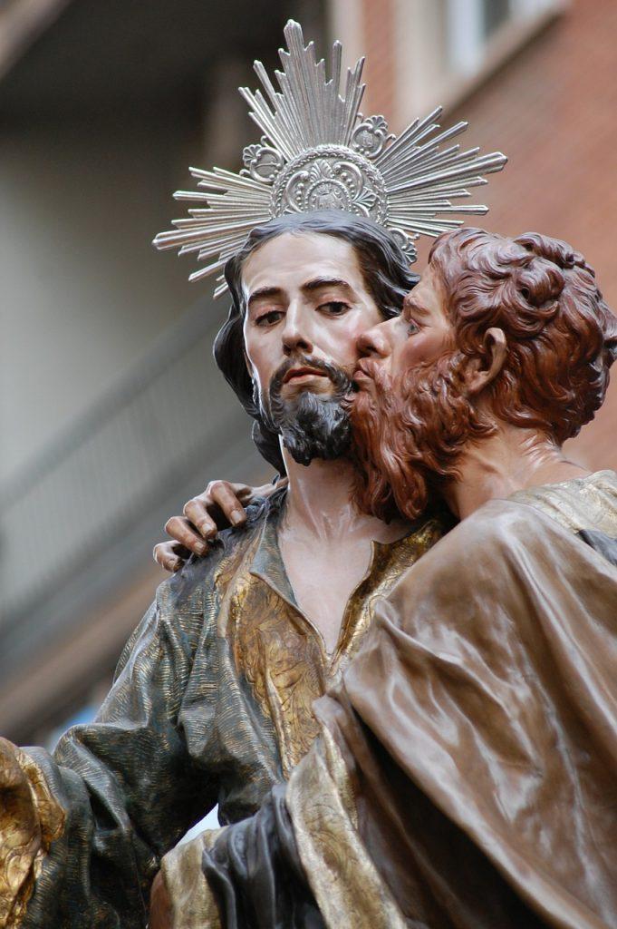 Judas verrät Jesus mit einem Kuss