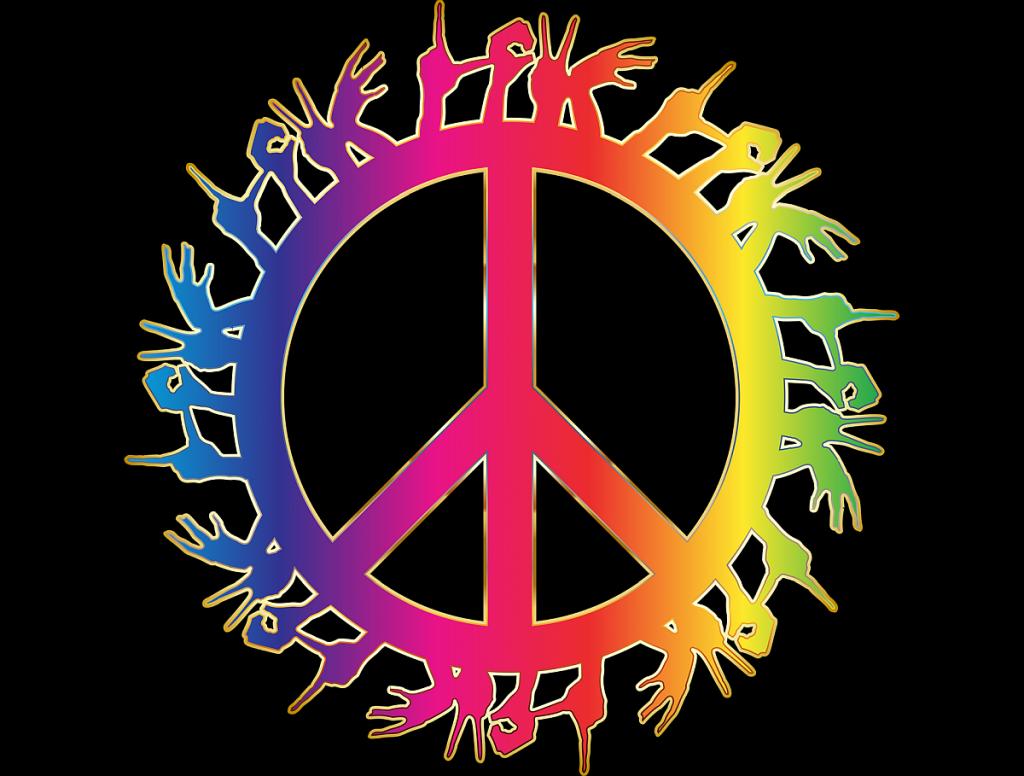 """Das Friedenszeichen mit dem senkrechten Strich und zwei schrägen Strichen nach unten im Rad, und außen herum Hände, die das Wort """"Love"""" = """"Liebe"""" formen"""
