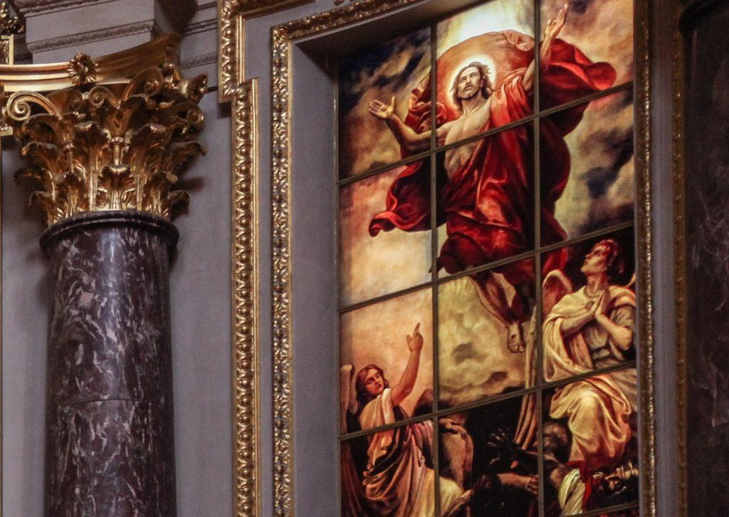 Altarbild der Himmelfahrt Christi, von zwei Engeln begleitet
