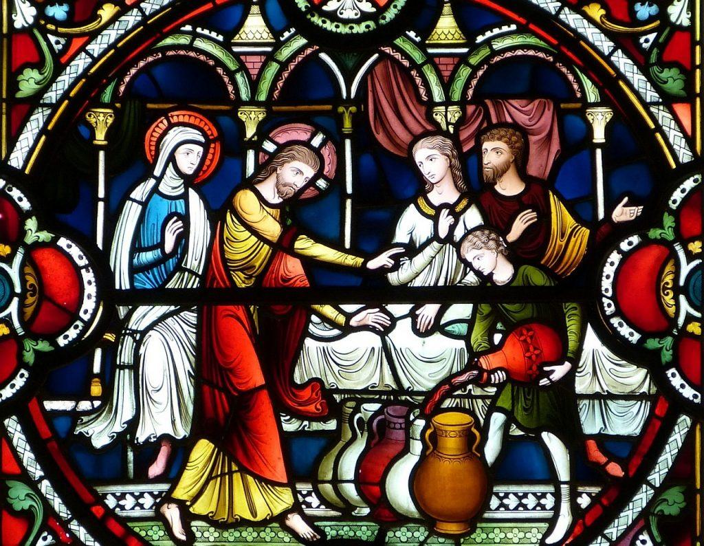 Jesus bei der Hochzeit zu Kana - er gibt die Anweisung, die Krüge mit Wasser zu füllen