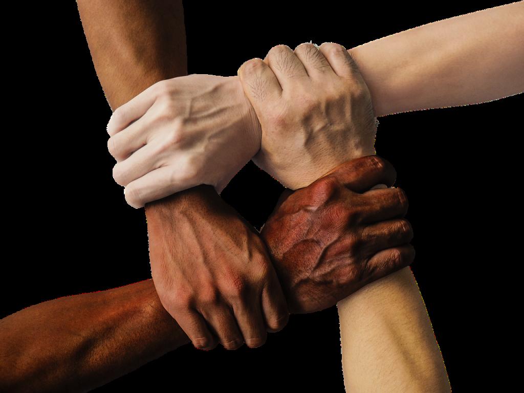 Vier Hände von verschiedener Hautfarbe halten einander gegenseitig am Handgelenk fest