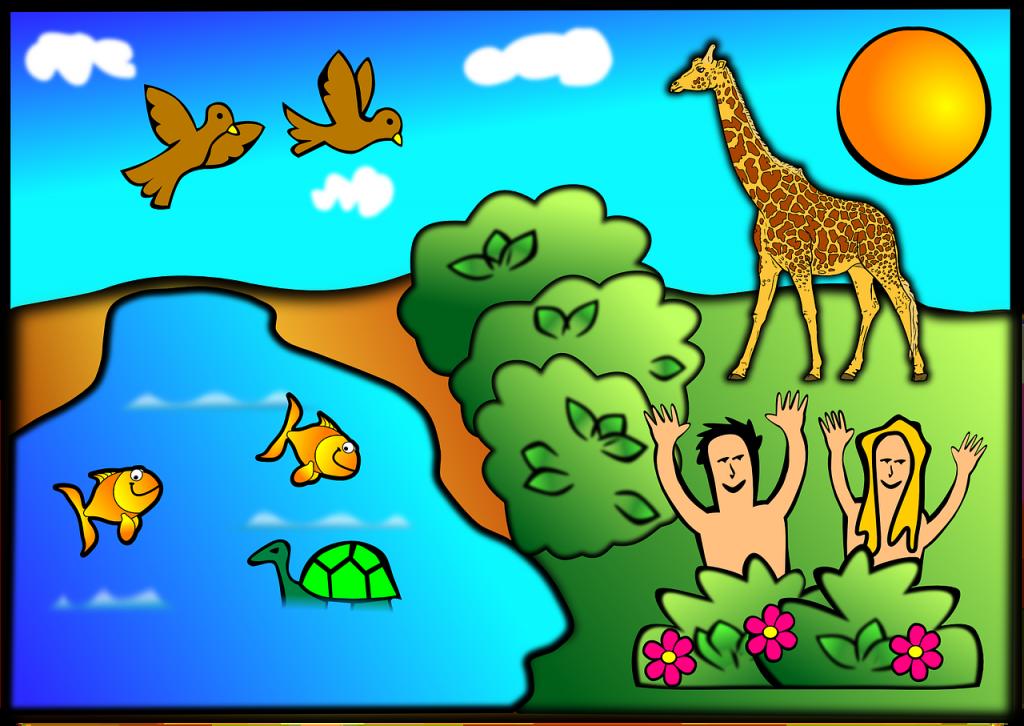 Ein Bild der bunten Schöpfung Gottes mit Tieren, Menschen, Wasser, Sonne