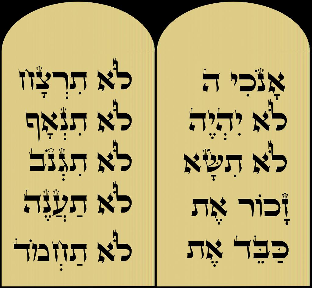 Die Tafeln der Zehn Gebote auf Hebräisch
