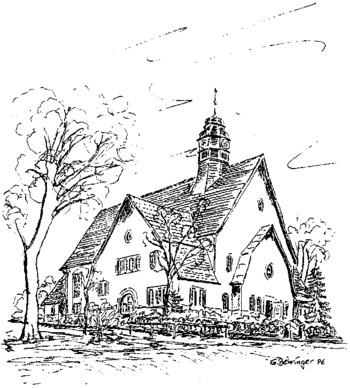 Eine Zeichnung der Kapelle der Landesnervenklinik Alzey