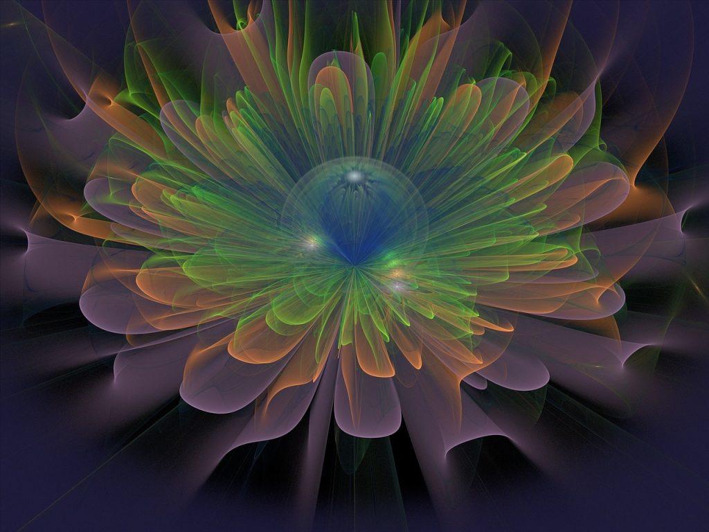 Ein fraktrales Gebilde, das wie eine zarte Blume im Dunkeln aussieht
