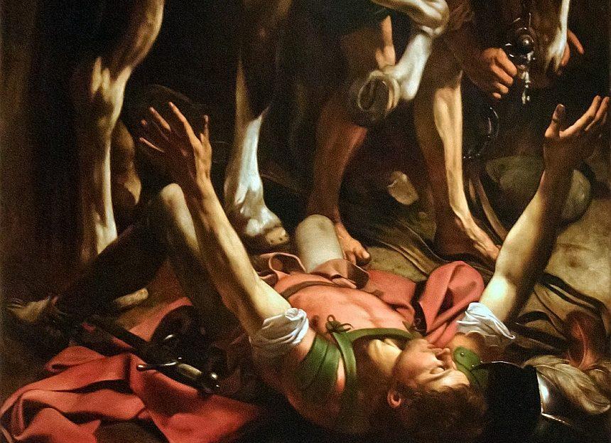 Gemälde von Caravaggio: Paulus stürzt vor Damaskus vom Pferd
