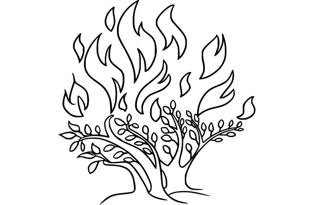 Der brennende Dornbusch des Mose - stilisiert gezeichnet