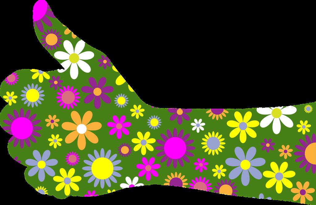 Ein mit Blumen verzierter stilisierter Arm mit Daumen hoch