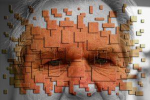 Ein Gesicht ist mit Hilfe von Rechtecken in Einzelteile zersplittert dargestellt