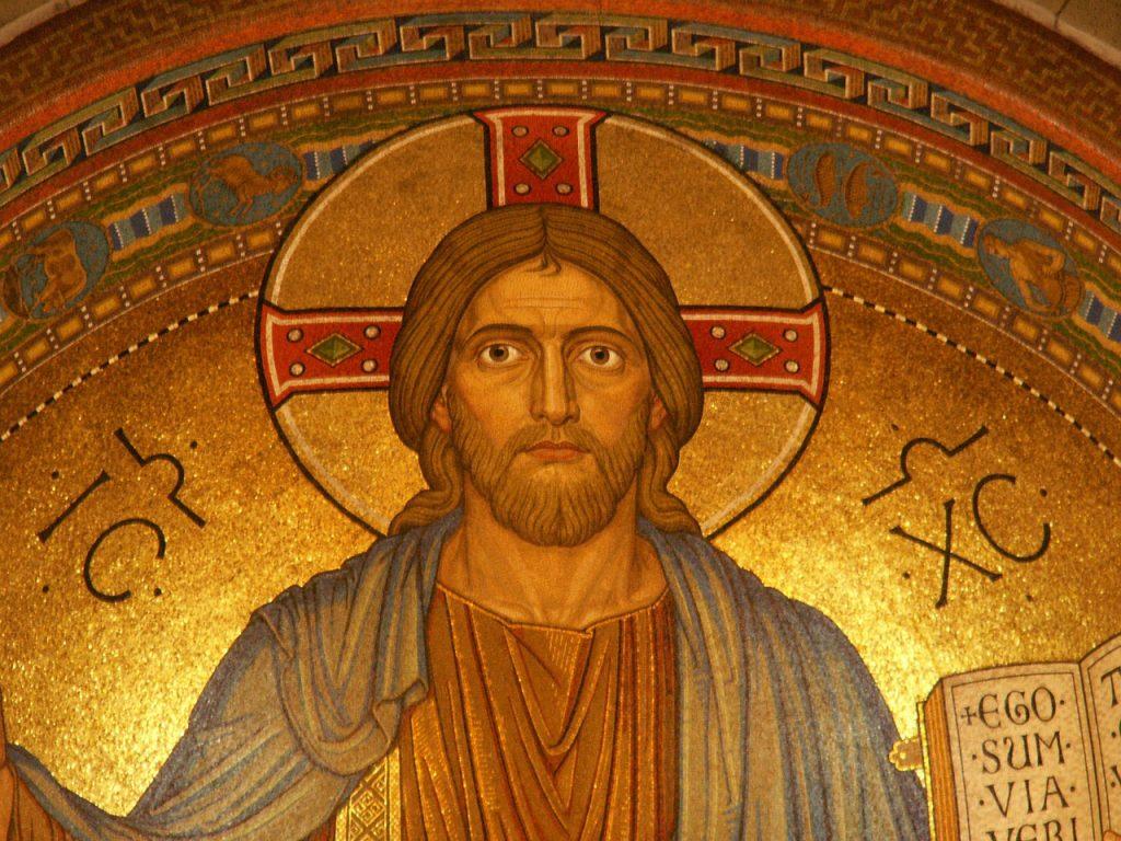 Eine Ikone mit dem Bild Christi, der einen intensiv anschaut; er hält die Bibel mit den Worten: Ego sum via... Ich bin der Weg...