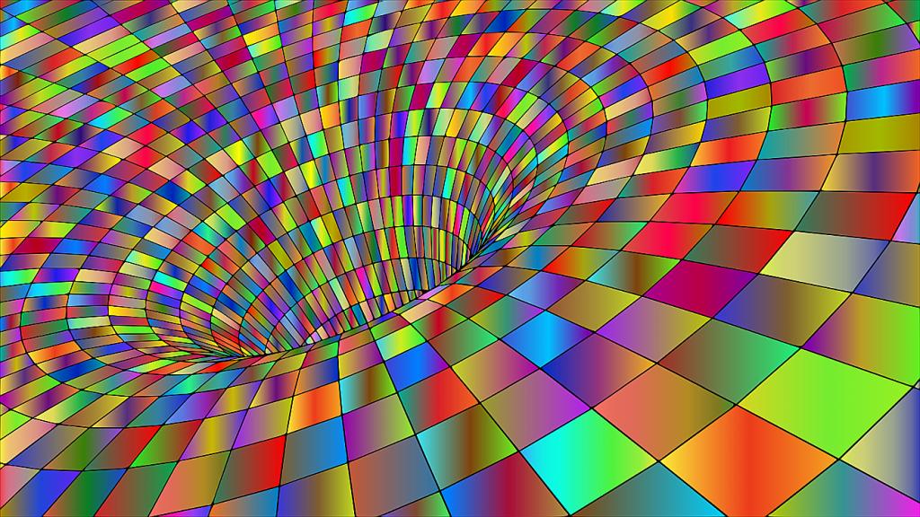 Im Kreis angeordnete bunte Quadrate bilden einen Trichter - so wird andeutungsweise eine vierte Dimension dargestellt