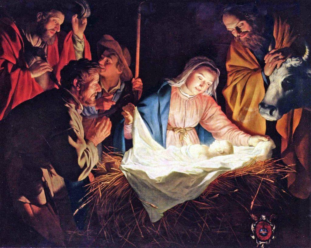 Das Jesuskind in der Krippe, weiß leuchtend und umgeben von Maria, Josef, Hirten und der Dunkelheit
