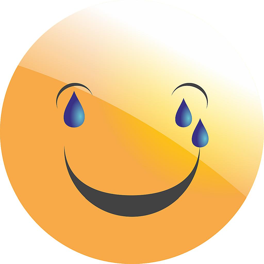 Ein lachendes Smilie mit Tränen in den Augen