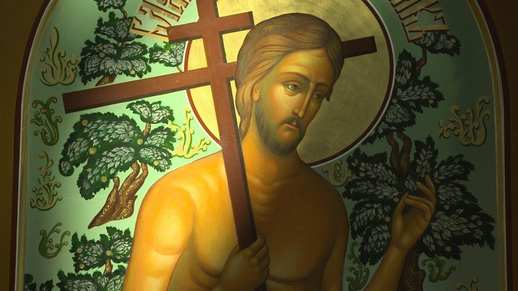 Jesus mit orthodoxem Kreuz über der Schulter
