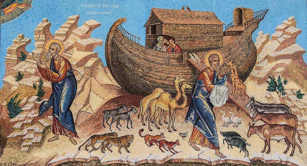 Eine Ikone stellt die Arche dar und Noah, der die Tiere in die Arche holt