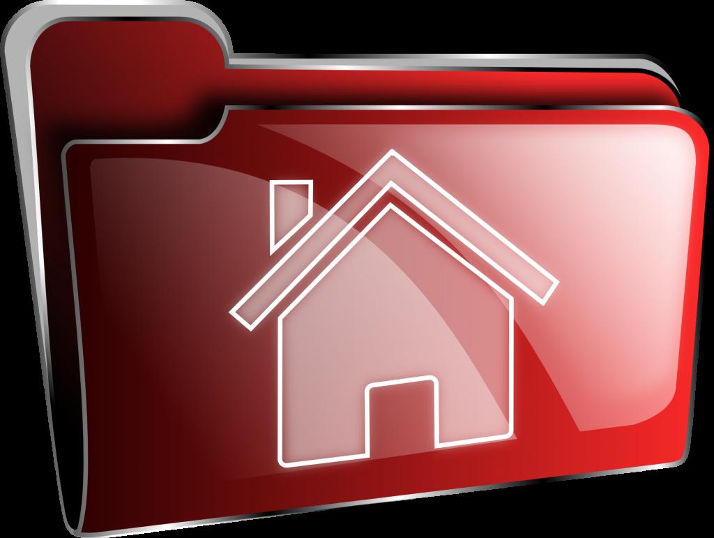 Bestelle dein Haus: Ein digitales Ordnersymbol mit einem stilisierten Haus darauf
