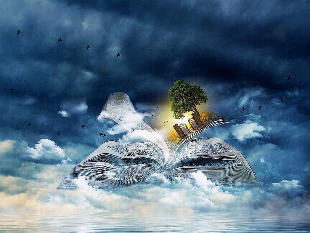 Sein Name steht im Buch des Lebens: Ein aufgeschlagenes Buch über und zwischen Wolken, zwischen den Buchseiten ist ein Baum neben einem Tor zu sehen und dahinter warmes Licht