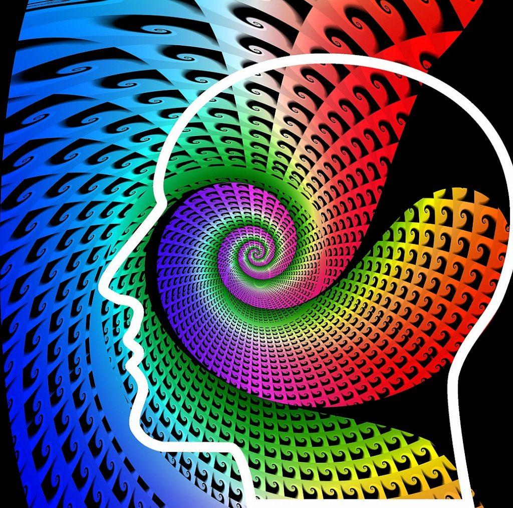 """""""Erforsche mich, Gott!"""" Der Umriss eines Kopfes im Profil, durchzogen von spiralförmigen farbigen Mustern"""