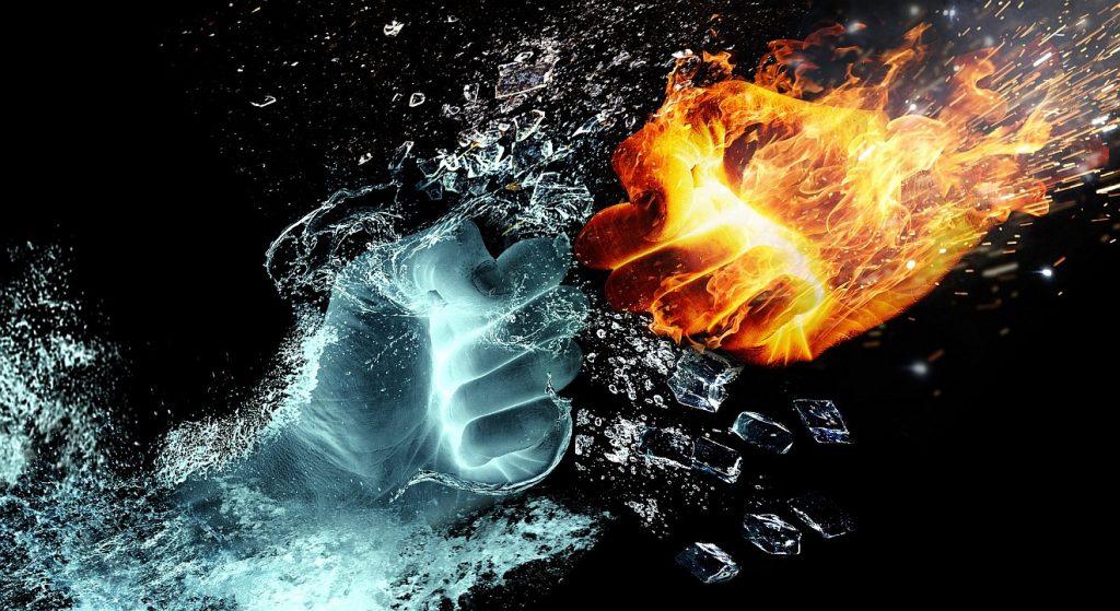 Gottvertrauen in einer bedrohten Welt: zwei aus Wasser bzw. Feuer gebildete Fäuste kämpfen gegeneinander