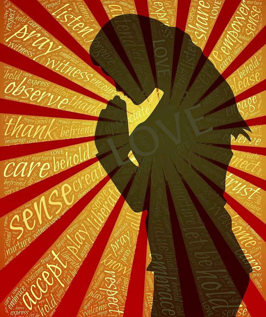 """Gott mehr gehorchen als den Menschen: Die Silhouette einer betenden Frau, von der Strahlen ausgehen, in denen englische Worte stehen, die den Inhalt des Gebets umschreiben: von """"observe"""" und """"accept"""" bis zu """"listen"""", """"respect"""" und """"empower"""""""
