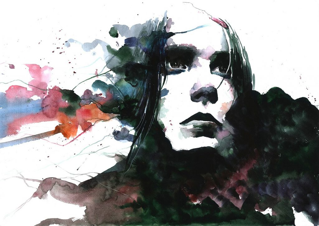 Trauerfeier für einen exzentrischen Menschen: Ein gemaltes Bild eines Menschen, der innerlich aufgewühlt zu sein scheint
