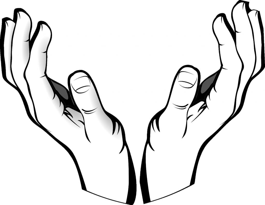 Ich befehle meinen Geist in Gottes Hände - zwei Hände, nach oben geöffnet