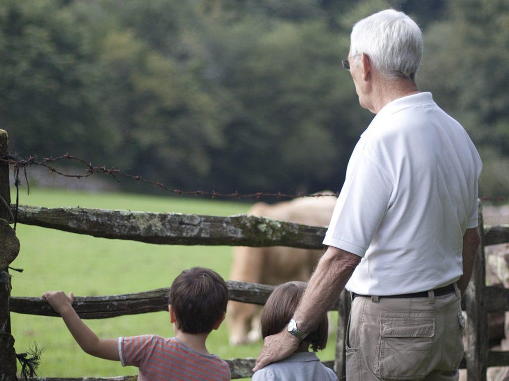 Trauernde Kindeskinder: Ein Großvater mit zwei Enkelkindern an einer Pferdekoppel