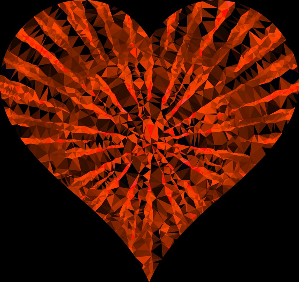 Ist unser Herz offen für Liebe? Ein mit schwarz-roten strahlenförmig von innen nach außen gehenden Mustern verziertes Herz