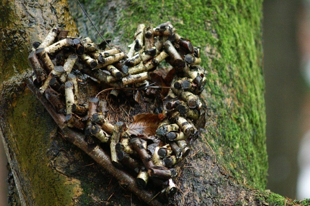 Unser Herz ist unruhig: Ein Herz, geformt aus Birkenzweigstückchen an einem bemoosten Baumstamm, vielleicht in der Nähe eines Baumgrabes
