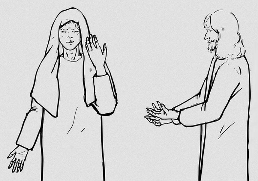 Eine Zeichnung von Jesus im Gespräch mit einer Frau - es mag Marta sein, mit der er über die Auferstehung spricht