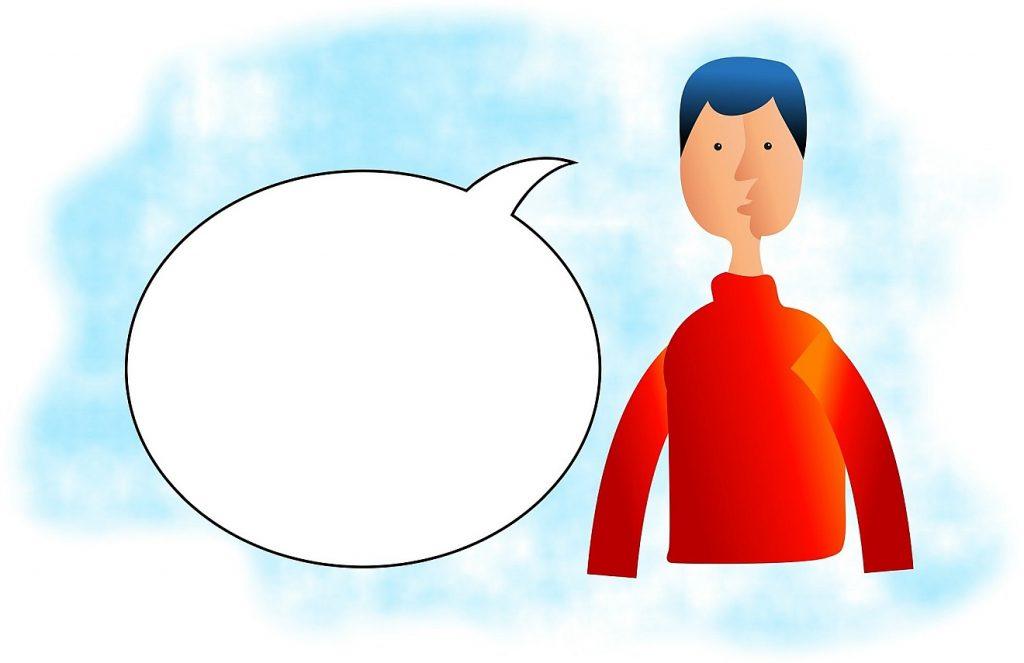 """""""Wollen die leeren Worte kein Ende haben?"""" Das Bild zeigt die Zeichnung eines jungen Mannes mit einer leeren Sprechblase"""