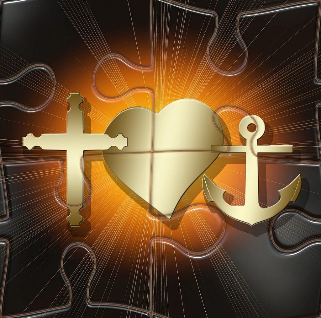 Liebe - eingebettet in Glaube und Hoffnung: Kreuz, Herz und Ankel erscheinen auf Puzzleteilen, vom Herzen geht ein warmer Lichtschein aus