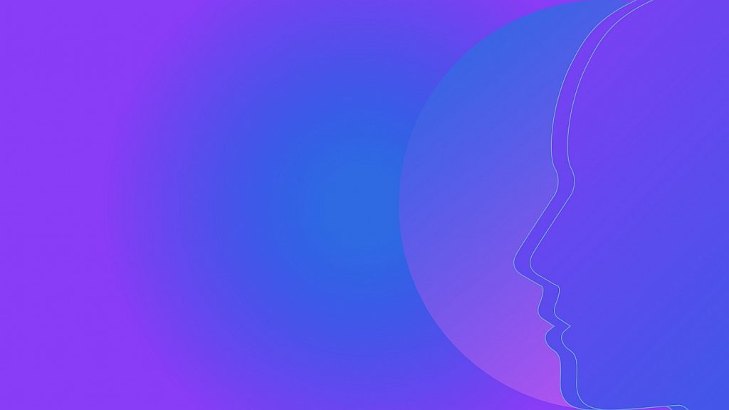 Der Umriss eines Gesichts, doppelt gezeichnet, davor ein Halbkreis, alles ist in blau-violetten Farbtönen gehalten
